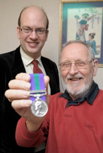 Mark Reckless MP with local hero James Hargreaves. Photo copyright: Medway Messenger.
