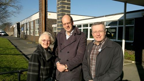 Mark Reckless MP (middle) with Cllrs Sylvia Griffin and Trevor Clarke visit the Balfour Centre