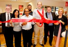 Strood Post Office re-opening, North Street, Strood. L-R John Elliott, Charanjit Kaur, Hardev Singh, sub postmaster Bierinder Singh Powar, MP Mark Reckless, Cllr Chris Irvine and Martine from the Post Office.