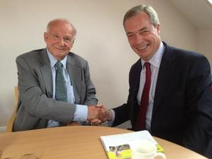 Strood Rural councillor Peter Rodberg is welcomed to UKIP by Nigel Farage