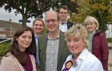 Mark Reckless is joined by some of UKIP's rising stars in Hoo, including Samah Naz (left) and Stroud PPC Caroline Stephens (front right).